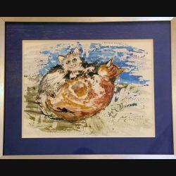 Peinture à l'aquarelle de Svetlana Manen intitulée maman et bébé 1986 de dimension 39*29 sous verre