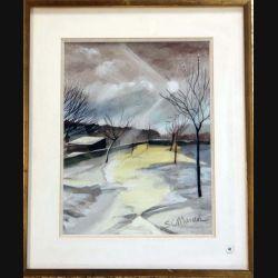 Peinture à l'aquarelle de Svetlana Manen intitulée Soleil d'hiver 1979 de dimension 29*22 sous verre