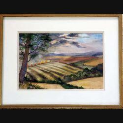 Peinture à l'aquarelle de Svetlana Manen intitulée Fin d'été dans l'Essex 1983 de dimension 26*18 sous verre