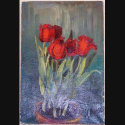 Peinture à l'huile de Svetlana Manen intitulée Les tulipes rouges 1966 de dimension 45*30