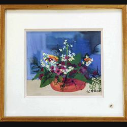 Peinture à la gouache de Svetlana Manen intitulée Bouquet de dimension18*16 sous verre