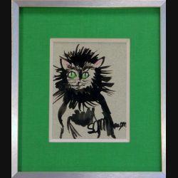 Peinture à l'encre de Svetlana Manen intitulée Chat fou 1986 de dimension 15*11 sous verre