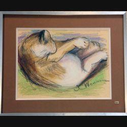 Peinture Pastel de Svetlana Manen intitulée Chat dort 1986 de dimension 29*22 sous verre