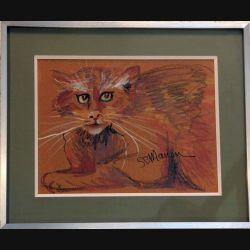 Peinture Pastel de Svetlana Manen intitulée Chat fauve 1986 de dimension 29*22 sous verre