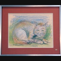 Peinture Pastel de Svetlana Manen intitulée Cha...sseur 1986 de dimension 29*22 sous verre