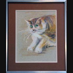 Peinture Pastel de Svetlana Manen intitulée Chat au guet 1986 de dimension 29*22 sous verre
