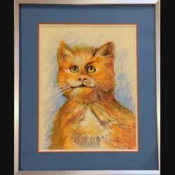 Peinture Pastel de Svetlana Manen intitulée Chat foin 1986 de dimension 29*22 sous verre