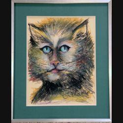 Peinture Pastel de Svetlana Manen intitulée Chat barbu 1986 de dimension 29*22 sous verre