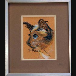 Peinture Pastel de Svetlana Manen intitulée profil siamois 1986 de dimension 15*11 sous verre