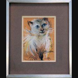 Peinture Pastel de Svetlana Manen intitulée Le petit chat à la grosse tête 1986 de dimension 15*11 sous verre