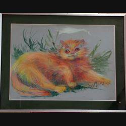 Peinture Pastel de Svetlana Manen intitulée Le pa...chat à la grosse tête 1986 de dimension 75*54 sous verre