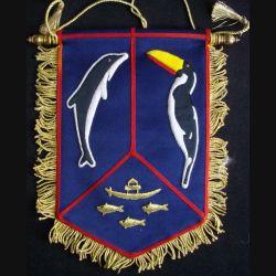 CSFA GUYANE : fanion du commandement supérieur des forces armées en Guyane en cannetille de très belle fabrication (C168)