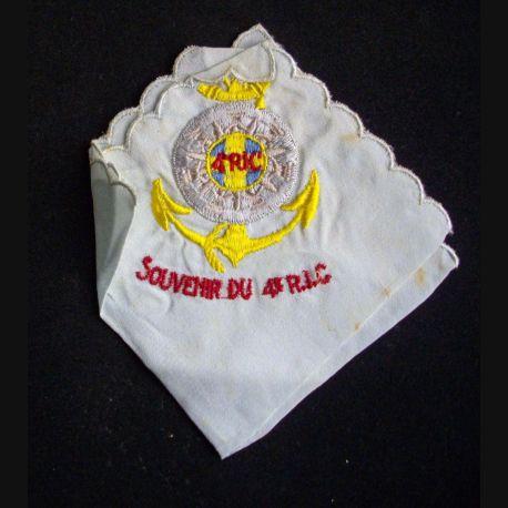 4° RIC : mouchoir brodé en souvenir du 4° régiment d'infanterie colonial