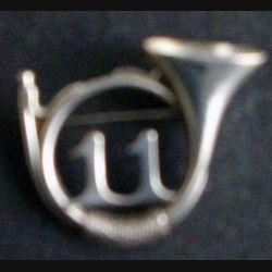 11° RCH : insigne fantaisie en argent massif du 11° régiment de chasseurs