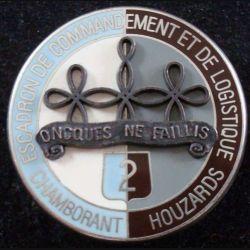 2° RH : insigne métallique de l'escadron de commandement et de logistique du 2° régiment de hussards de fabrication Drago