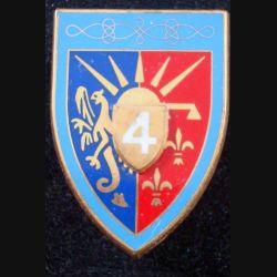4° RH : insigne métallique du 4° régiment de hussards de fabrication Fraisse G. 441