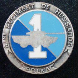 8° RH : insigne métallique du 1° escadron Polka du 8° régiment de hussards de fabrication Fraisse