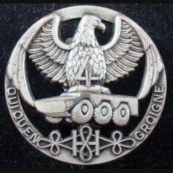 8° RH : insigne métallique du 4° escadron du 8° régiment de hussards de fabrication Fraisse