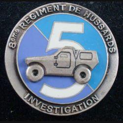 8° RH : insigne métallique du 5° escadron investigation du 8° régiment de hussards de fabrication Fraisse
