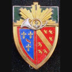 1° RCH : 1° régiment de chasseurs, ancre dans cor, de fabrication Drago déposé en émail (L84)