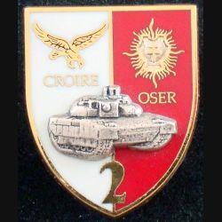 6° & 12° RC : insigne métallique du 2° escadron du 6° et 12° régiment de cuirassiers de fabrication Arthus Bertrand n° 137