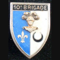 10° BC : insigne métallique de la 10° brigade de cavalerie de fabrication Drago Paris G. 1548