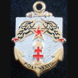 1° RS : insigne métallique du 4° escadron du 1° régiment de spahis en Polynésie de fabrication Pichard-Balme