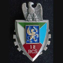 12° RCS : Insigne métallique du 12° régiment de commandement et de soutien de fabrication Delsart Sens G. 3314