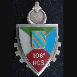 108° RCS : Insigne métallique du 108° régiment de commandement et de soutien de fabrication Delsart Sens G. 3004