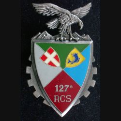 127° RCS : Insigne métallique du 127° régiment de commandement et de soutien de fabrication Delsart Sens G. 2815