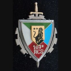 107° RCS : Insigne métallique du 107° régiment de commandement et de soutien de fabrication Delsart Sens G. 3898
