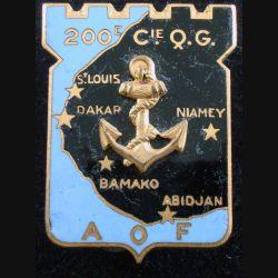 200° CQG : 200° compagnie de Quartier Général de fabrication Drago Paris G. 1585 en émail (L 105)