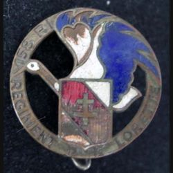 158° RI : 158° régiment d'infanterie régiment de Lorette rond 28 mm avec de gros éclats d'émail (L 95)