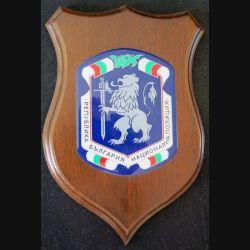 Plaque avec Insigne de la Police bulgare plastique sur écu de bois (C168)