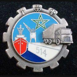 514° GTP : Insigne métallique du 514° Groupe de Transit Portuaire FRAISSE G. 3187 (marqué au dos FRASSE)