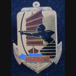 27° BMTS : Insigne métallique du 27° Bataillon de Marche de Tirailleurs Sénégalais DRAGO Romainville H. 403 (L178)