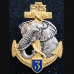 3° RTS : Insigne métallique du 3° Régiment de Tirailleurs Sénégalais DRAGO BERANGER Déposé H. 716 en émail (175)