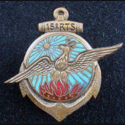 15° RTS : Insigne métallique du 15° Régiment de Tirailleurs Sénégalais OFSI doré bout d'attache cassée (L174)