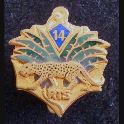 14° RTS : Insigne boutonnière (1,9 cm de largeur) du 14° Régiment de Tirailleurs Sénégalais en émail