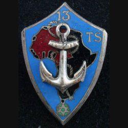 13° TS : Insigne métallique du 13° Tirailleurs Sénégalais argenté sans attache (L174)