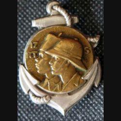 17° RTS : Insigne métallique du 17° Régiment de Tirailleurs Sénégalais DRAGO PARIS Déposé en métal ancre argentée (L174)