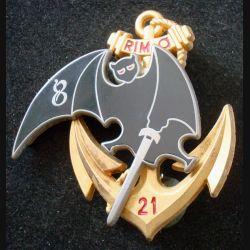 21° RIMa : Insigne métallique de la 8° Compagnie du 21° Régiment d'Infanterie de Marine de fabrication ARTHUS BERTRAND
