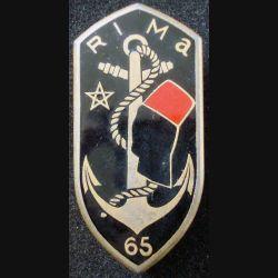 65° RIMa : Insigne métallique du 65° Régiment d'Infanterie de Marine de fabrication ARTHUS BERTRAND G. 2031 en émail (L204)