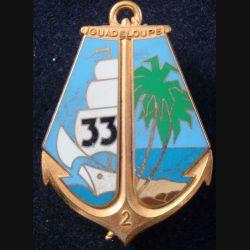 33° RIMA : Insigne métallique 2° Cie du 33° Régiment d'Infanterie de Marine de fabrication Fraisse (L204)