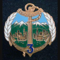 3° RIMA : Insigne métallique du BAT INF 4 du 3° Régiment d'Infanterie de Marine de fabrication Segalen (L203)