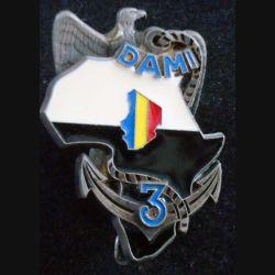 3° RIMA : Insigne métallique du DAMI Epervier au Tchad du 3° Régiment d'Infanterie de Marine de fabrication Delsart (L203)