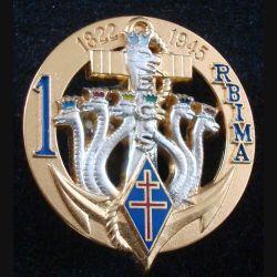 1° RBIMA : Insigne métallique de l' ECS du 1° Régiment Blindé d'Infanterie de Marine de fabrication Balme numéroté 90 (L194)