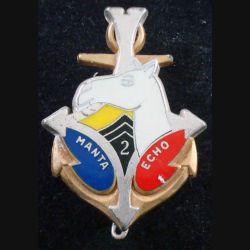 2° RIMA : Insigne métallique du 2° Régiment d'Infanterie de Marine Groupement MANTA ECHO de fabrication Fraisse (L201)