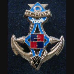 2° RIMA : Insigne métallique du 2° Régiment d'Infanterie de Marine EPERVIER Tchad numéroté 402 (L201)