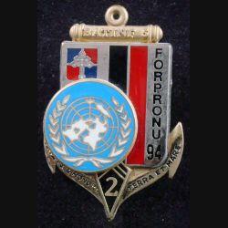 2° RIMA : Insigne métallique du BAT INF N° 5 SARAJEVO du 2° Régiment d'Infanterie de Marine de fabrication Fraisse (L201)